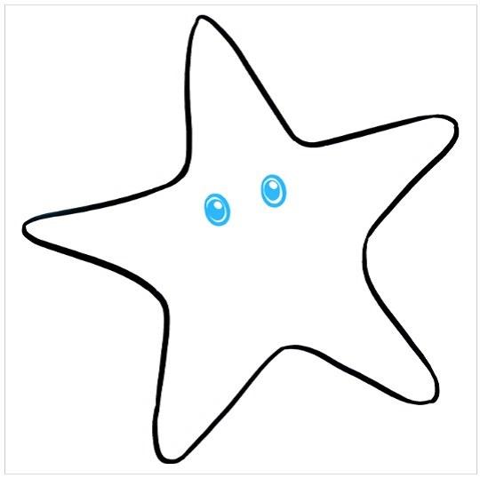 نقاشی ستاره دریایی برای بچه ها مرحله چهارم