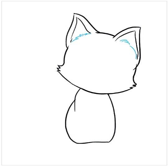 روش کشیدن نقاشی بچه گربه مرحله پنجم