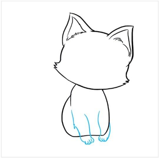 نقاشی بچه گربه برای بچه ها مرحله ششم