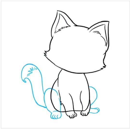 چگونه بچه گربه نقاشی کنیم مرحله هفتم