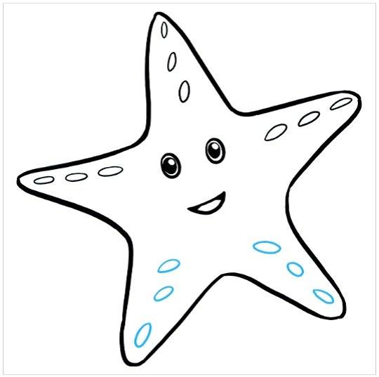 گام به گام نقاشی ستاره دریایی مرحله هفتم