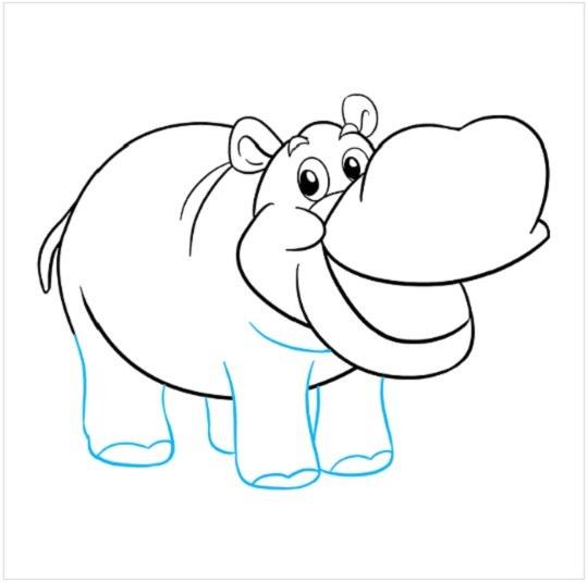 نقاشی کرگدن برای بچه ها مرحله هشتم