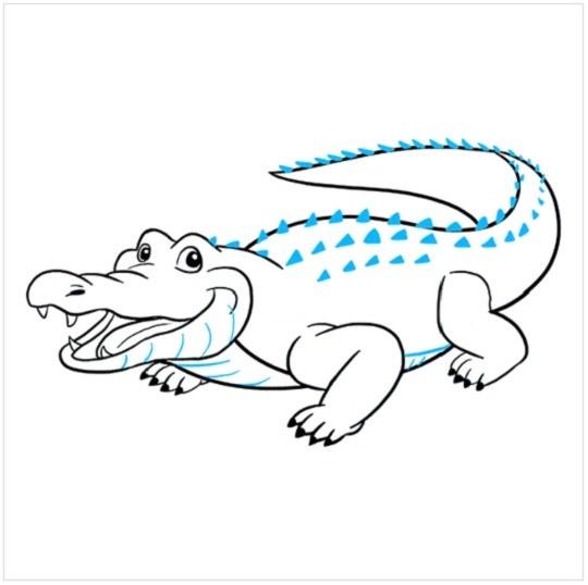 گام به گام نقاشی تمساح مرحله نهم