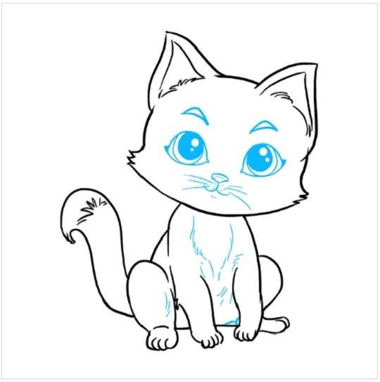 آموزش نقاشی بچه گربه مرحله نهم