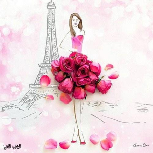 عکس دخترونه نقاشی از برج ایفل