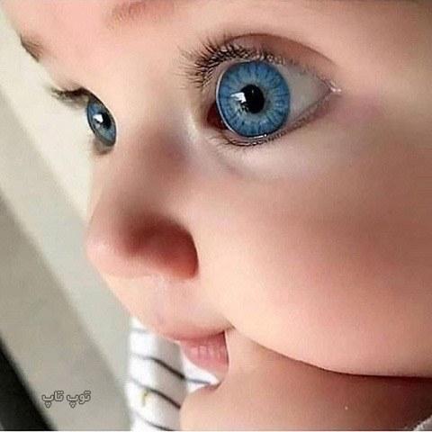 عکس بچه خوشگل با چشم رنگی و درشت