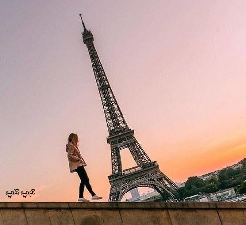 عکس دختر زیبا کنار برج ایفل