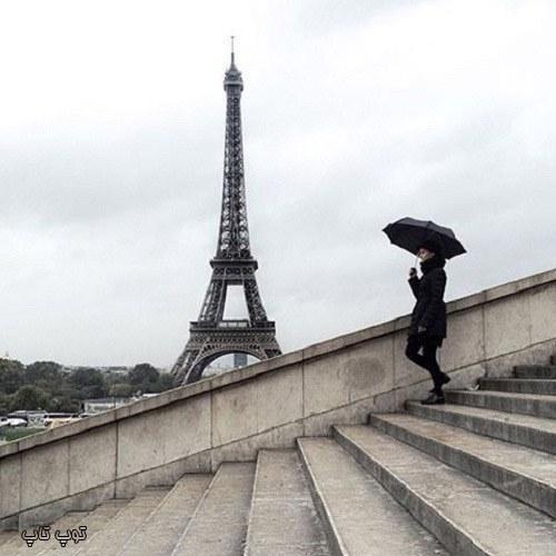 عکس پروفایل برج ایفل در هوای بارانی