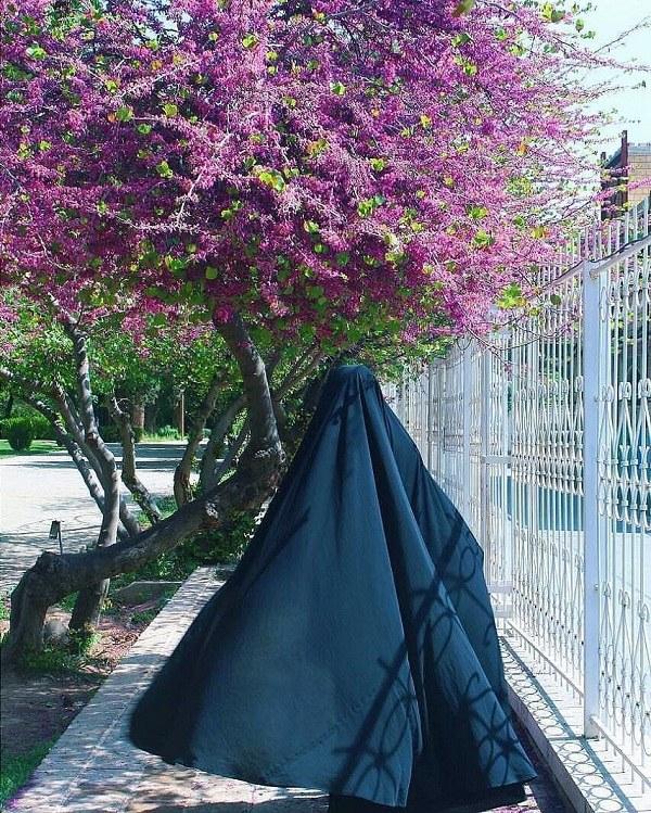 عکس دختر چادری در فصل بهار