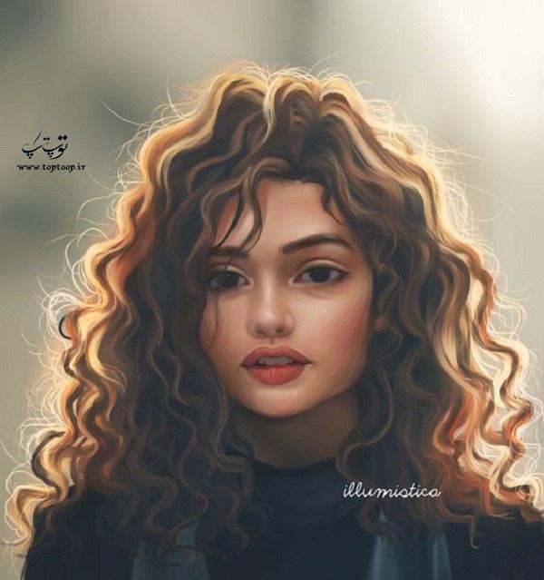 نقاشی فانتزی دخترونه از دختر خوشگل برای پروفایل 2020 جدید