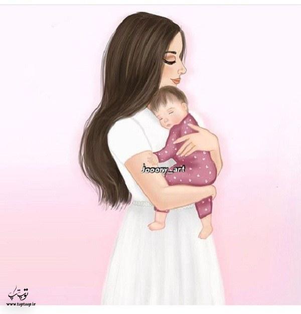 عکس نقاشی دخترانه فانتزی دونفره مادر و بچه 99