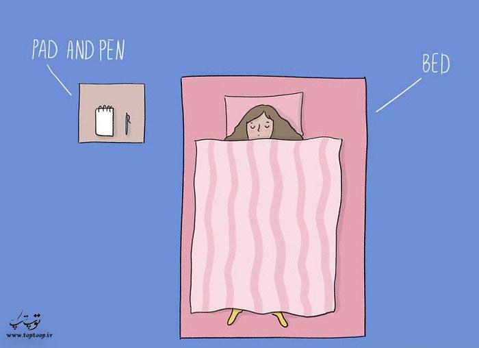دسترس بودن خودکار و کاغذ کنار رختخواب