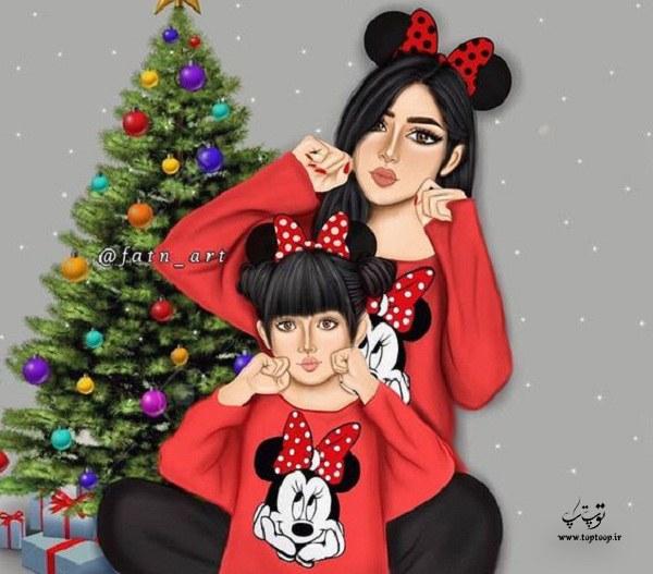 عکس پروفایل فانتزی نقاشی شده مادر و دختری 1399 جدید