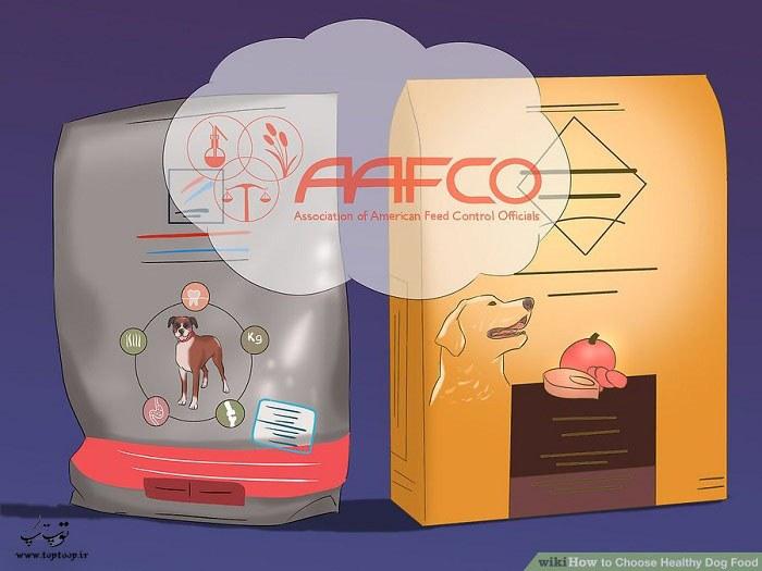 وجود برچسب AAFCO روی برچسب مواد غذایی سگ