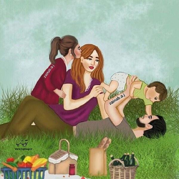 عکس نقاشی شده دخترونه 4 نفره از یک خانواده ، مادر پدر دختر پسر