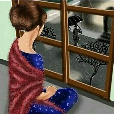 عکس پروفایل بارانی دخترونه پشت شیشه