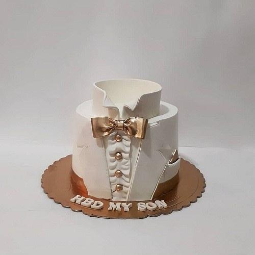 کیک تولد مردانه سفید