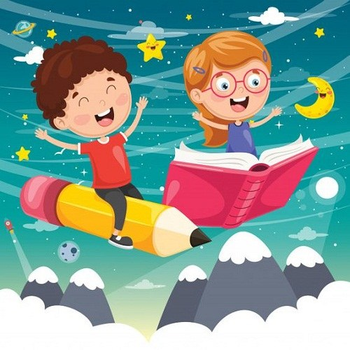 عکس نقاشی کتاب خوانی کودکانه