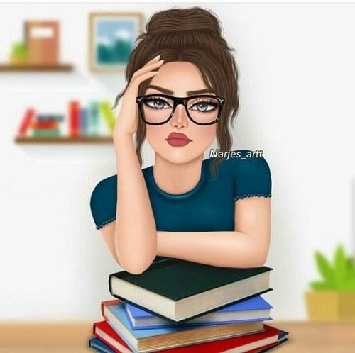 نقاشی دخترونه کتاب و کتابخوانی