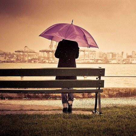 عکس پروفایل باران چتر و نیمکت