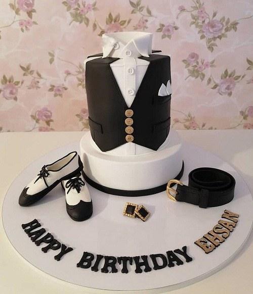 کیک مردانه با تم سفید مشکی