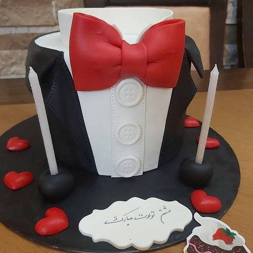 کیک تولد مردانه پاپیون