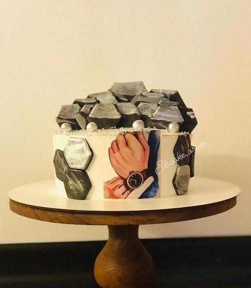 عکس کیک تولد خامه ای مردونه