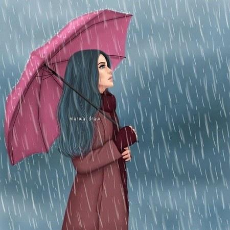 عکس پروفایل باران دخترونه با چتر