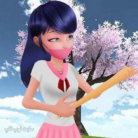 عکس دختر کفشدوزکی برای پروفایل با ماسک