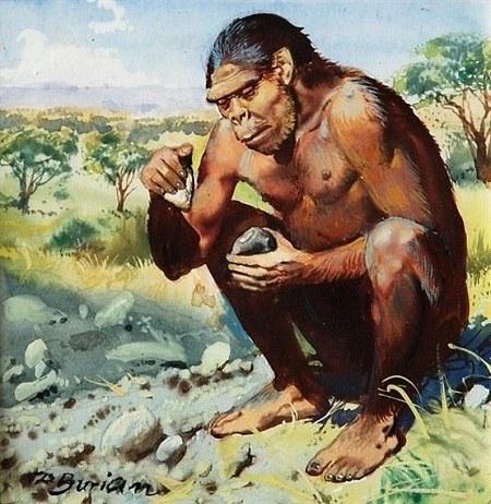 عکس انسان اولیه در حال درست کردن آتش