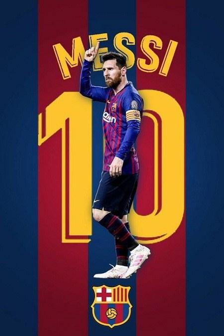 عکس مسی و لوگوی بارسلونا