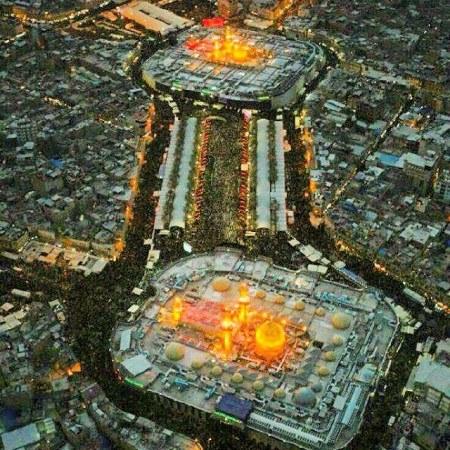 عکس هوایی از حرم امام حسین