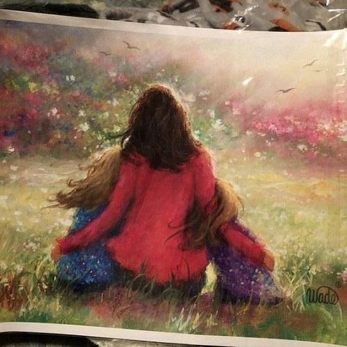 عکس پروفایل مادر دختری نقاشی شده