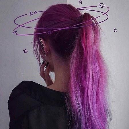 عکس دخترونه با موی بنفش