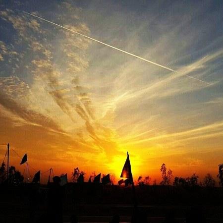 عکس غروب خورشید در کربلا