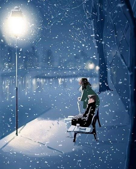 عکس شب برفی عاشقانه
