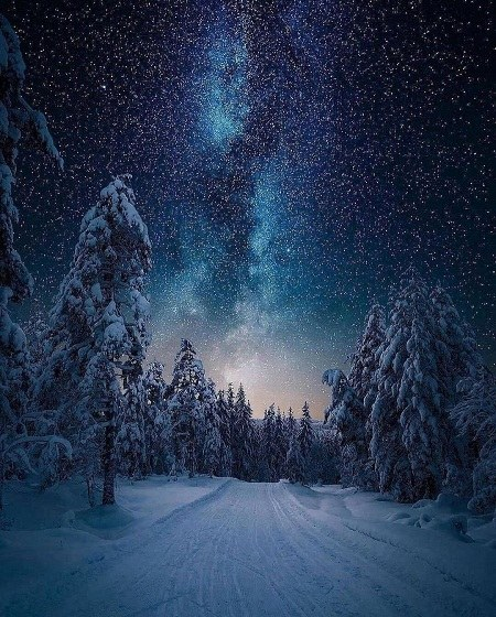عکس زیبا از شب برفی
