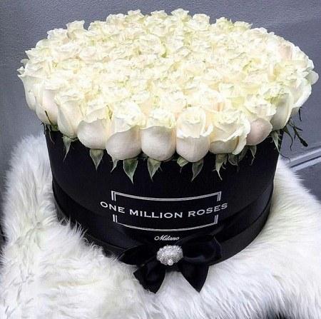 عکس سبد گل رز سفید مناسب تبریک تولد