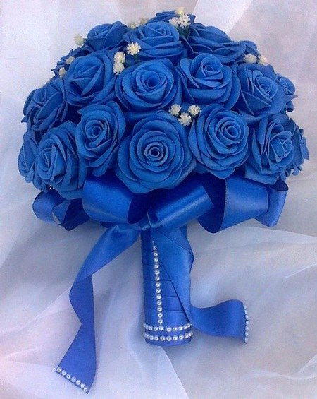 عکس دسته گل عروس آبی