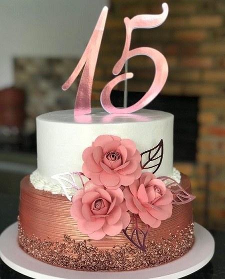 کیک تولد 15 سالگی دخترانه