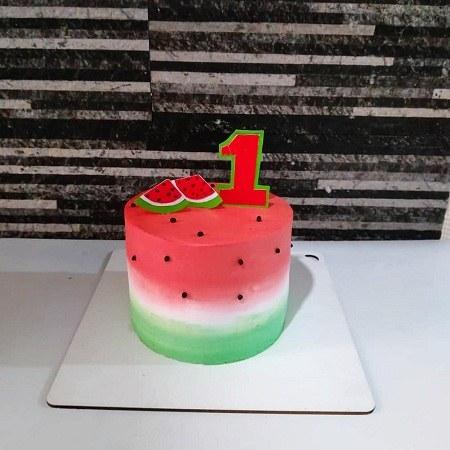 عکس کیک تولد یکسالگی با طرح هندوانه