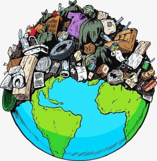 نقاشی زباله روی کره زمین