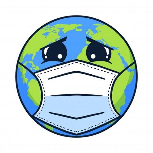 عکس نقاشی کره ی زمین با ماسک