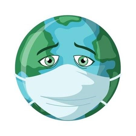 عکس نقاشی غمگین کره زمین با ماسک