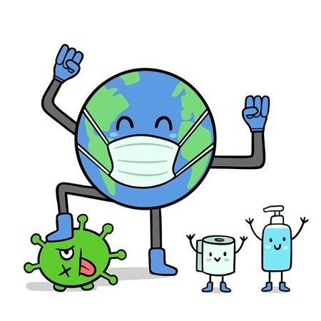 عکس نقاشی کره زمین با کرونا و ماسک