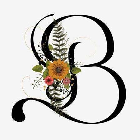 عکس حرف B تزیین شده با گل