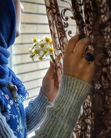 عکس پروفایل گل نرگس در دست دختر