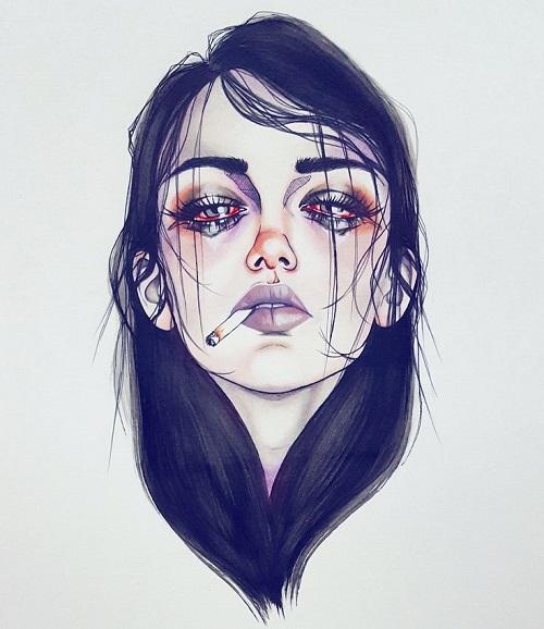 تصاویر نقاشی شده از دختر که خون گریه میکند برای پروفایل